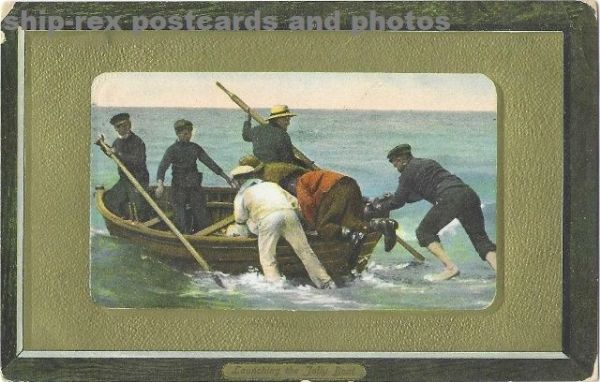 Launching The Jolly Boat, postcard